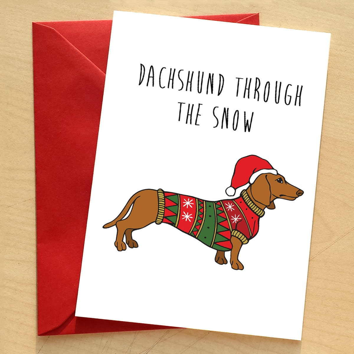 Dachshund christmas card doxie dachshund pun xmas card dog description dachshund christmas by catherine went 120x170mm greetings card kristyandbryce Image collections