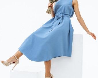Light blue summer dress, tank dress with belt, summer midi dress by Nadi Renardi