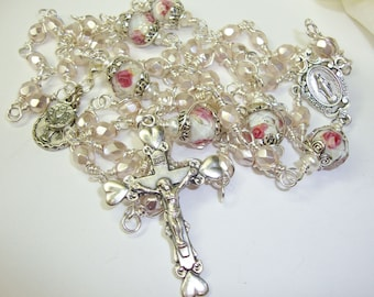 Catholic Rosary, Baptism rosary. First Communion rosary, pearlized Czech beads, pink Rosary, wire wrapped rosary, Abundant Grace Rosaries