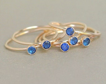 sapphire ring. gold birthstone ring. ONE dainty stackable September birthstone ring. mothers ring. 14k gold filled blue sapphire gemstone.