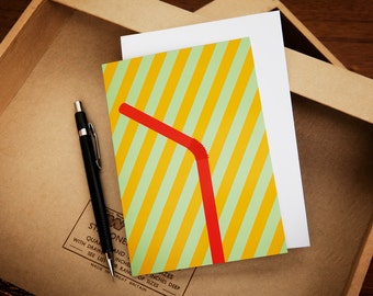 Red Straw Stripy Greeting Card