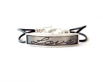 Round Leather Bracelet - Affirmation Word - Silver, Black - The Basics: 2mm Double Strand Love