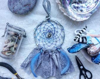 Teapot Dreamcatcher silver grey lace
