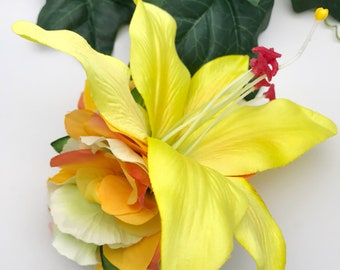 Handmade Tropical Yellow Lily & Orange / Green Hydrangea Hair Flower Clip