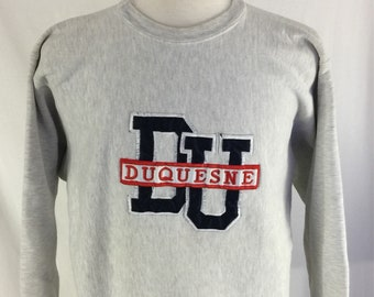 Vintage 90s Duquesne University Gray Pro Weave Pull Over Size XL Made In USA
