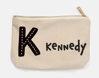 Monochrome Monogrammed Personalized Pencil Case for Back To School