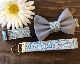 Dog collar, Collar with bow tie, dinosaur collar, dinosaur key chain, Dino dog collar, collar with bow, dog bow tie, jurassic dog collar