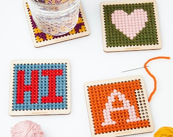 DIY Cross Stitch Wood Coaster Kit- Set of Four, Personalized DIY Gift, Customizable Monogram, Alphabet pattern, Embroidery kit