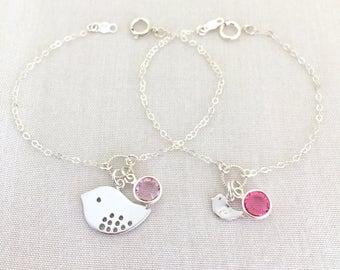 Matching Mommy Daughter Bracelet, Mama Bird, Mother Daughter Bracelet, Mother Daughter Jewelry, Baby Bird, Birthstone Bracelet, Silver, Gold