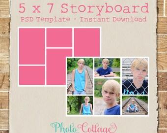 Plantilla de Storyboard de fotografía 5 x 7, plantilla de fotografía, fotógrafo Blog plantillas, plantilla de Blog Junta, Collage Digital