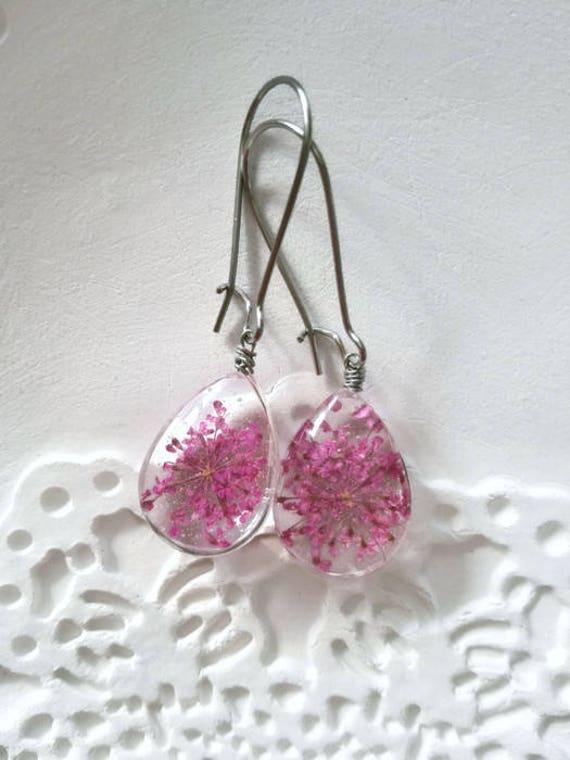 Pink earrings Glass earrings wedding gifts for bestfriend floral silver Pressed Flower Silver Charm teardrop earrings girls plant mom gift