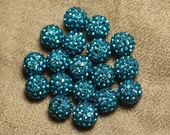 10pc - Pearl rhinestone 10mm blue green 4558550022608 glass and polymer