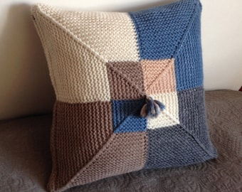 Knitted Cushion / Pillow Cover Handmade for Sofa / Couch in Geometric Pattern (wool and alpaca multi-colour: white, light brown, grey, blue)