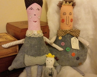 The ROYALS: handmade softie family, rag dolls, huggable, upcycled textiles, 3 Piece Set