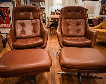 C1970u0027s Space Age Overman Lounge Chair Recliners W/Ottomans (single)
