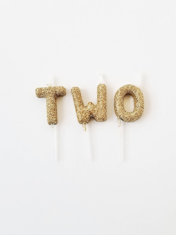Sale GLITTER TWO CANDLES Gold Mini Letter Candle Custom Glitter