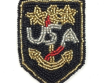 "Beaded Patch Applique with Anchor, USA and Stars, 3"" x 2""  -3047-0683"
