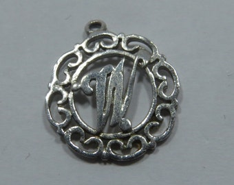 Letter Initial W in Wreath Sterling Silver Charm for Bracelet or Pendant