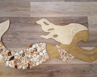 Seashell Mermaid - Beach Cottage Decor - Nautical Decor
