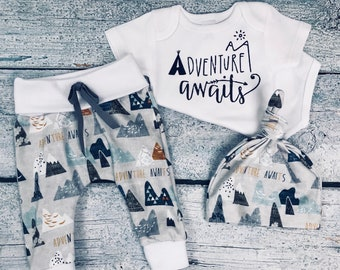 baby boy coming home outfit adventure awaits outfit baby boy take home outfit newborn outfit organic cotton newborn set baby shower gift