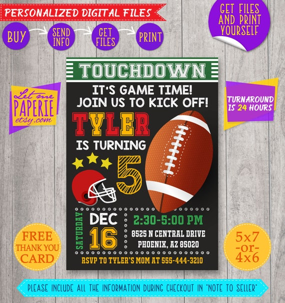 photo regarding Super Bowl Party Invitations Free Printable called Printable Soccer Celebration Invites For Grownup, Youngster Household
