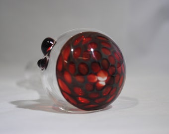 FREE SHIPPING!!  Spoon Pipe, Glass smoking pipe, Clear, Honeycomb, Dark Ruby Red