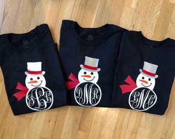 Adorable Snowman Monogram Long Sleeve Black Shirt!  Adult & Youth Sizes Available!