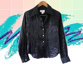 90s Goth Iridescent Black Crinkle Satin Office to Club Button Up Shirt size Medium