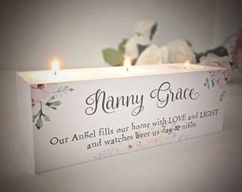 Personalised Remembrance Candle Holder Block Memorial