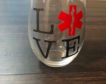 EMS love wine glass