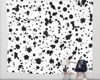 Paint Splatter Wall Tapestry, Art Tapestry, Wall Hanging, Dorm Decor, Black and White Wall Decor, Teen Room Decor, Boys Bedroom Decor