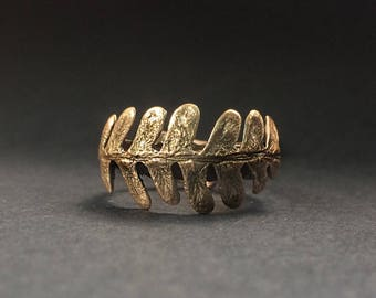 Fern Ring, Bronze, Laurel Ring, made by Jamie Spinello