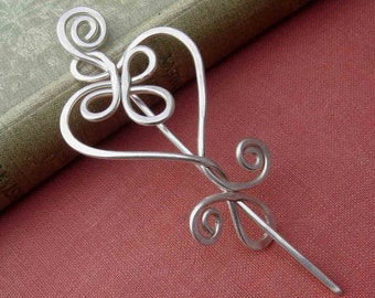 Celtic Heart Sterling Silver Shawl Pin, Knitter Gift for Her Silver Scarf Pin, Sweater Clip Heart Brooch, Wrap Closure Silver Heart Pin