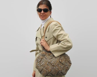 Shoulder Bag Knitted in Marl Beige Gray Soft Wool - Tote, Boho, Hobo, Medium Purse, Woman, Long Straps, Chunky Knit, Ready to Ship