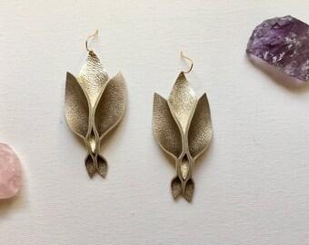 Metallic Gold Leather Triple Petal Earrings