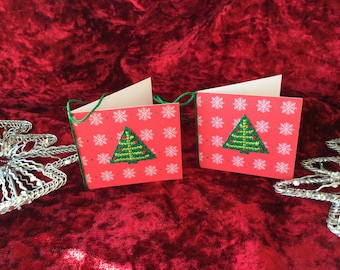 Christmas  tree gift tags, handmade, cross stitched, blank, him, her, boy, girl.