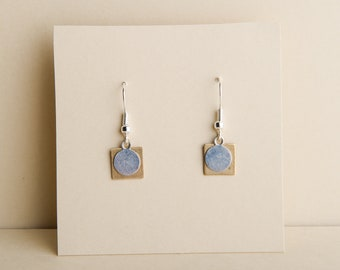 Gold square, silver circle earrings