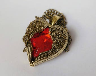 vintage accessories gem red crystal heart wings design long necklace 27g