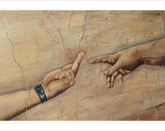 Atheist Version Of Michelangelo's The Creation Of Adam Poster 24x36 Funny