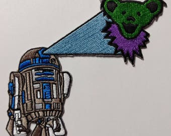 """5"""" R2-D2 Green Dancing Bear Patch Grateful Dead Owsley Stanley Merry Pranksters Steal Your Face"""