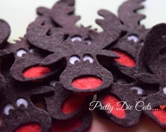 Felt Die Cut Moose Heads, Christmas Felt Shapes, Christmas Decoration, Die Cut Christmas Animal Craft Embellishments