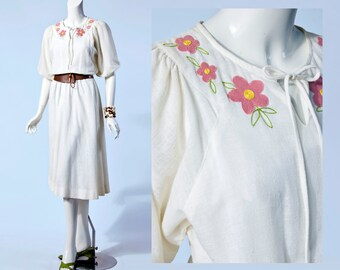 70s Jonathan Logan Boho Floral Embroidered Dress | Small