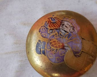 Vintage Collector Porcelain SATSUMA hand painted Chinese man button(Sept 103 17)