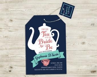 Bridal Shower Invitation, Tea with the Bride, Tea Party Invitation, Wedding, Bride, Shower