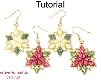 Holiday Beaded Earrings - DiamonDuo Two Hole Beads - Beginner Jewelry Making - Simple Bead Patterns - Festive Poinsettia Earrings #27633