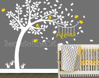 Nursery Wall Decal - Wall Decals Nursery - Wall decals, Bird, Bird Houses, Tree, Custom Name - Personalized Wall Decal and Wall decor