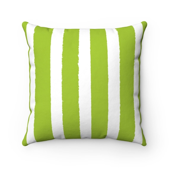 Lime Green Striped Throw Pillow . Lime Pillow . Lime Green Lumbar Pillow . Lime Striped Pillow . Green Cushion 14 16 18 20 26 inch