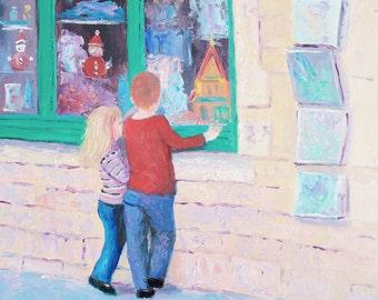 Christmas painting, kids wall art, kids room decor, childrens room art, Boy and Girl painting, street scene art, Etsy Art, Jan Matson