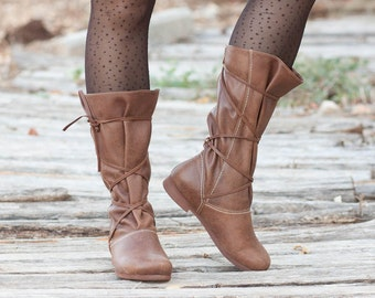 Brown Leather Boots, Lace up Boots, Brown Boots, Winter Shoes, Brown Shoes, Laces Boots, Flat Boots , Free Shipping