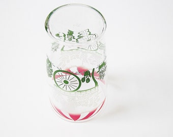 1960s Retro Flower Cart Design Extra Large Tumbler - Swanky Swig Style Drinking Glass - Ice Tea Lemonade - Pint Glass - Decanter Container